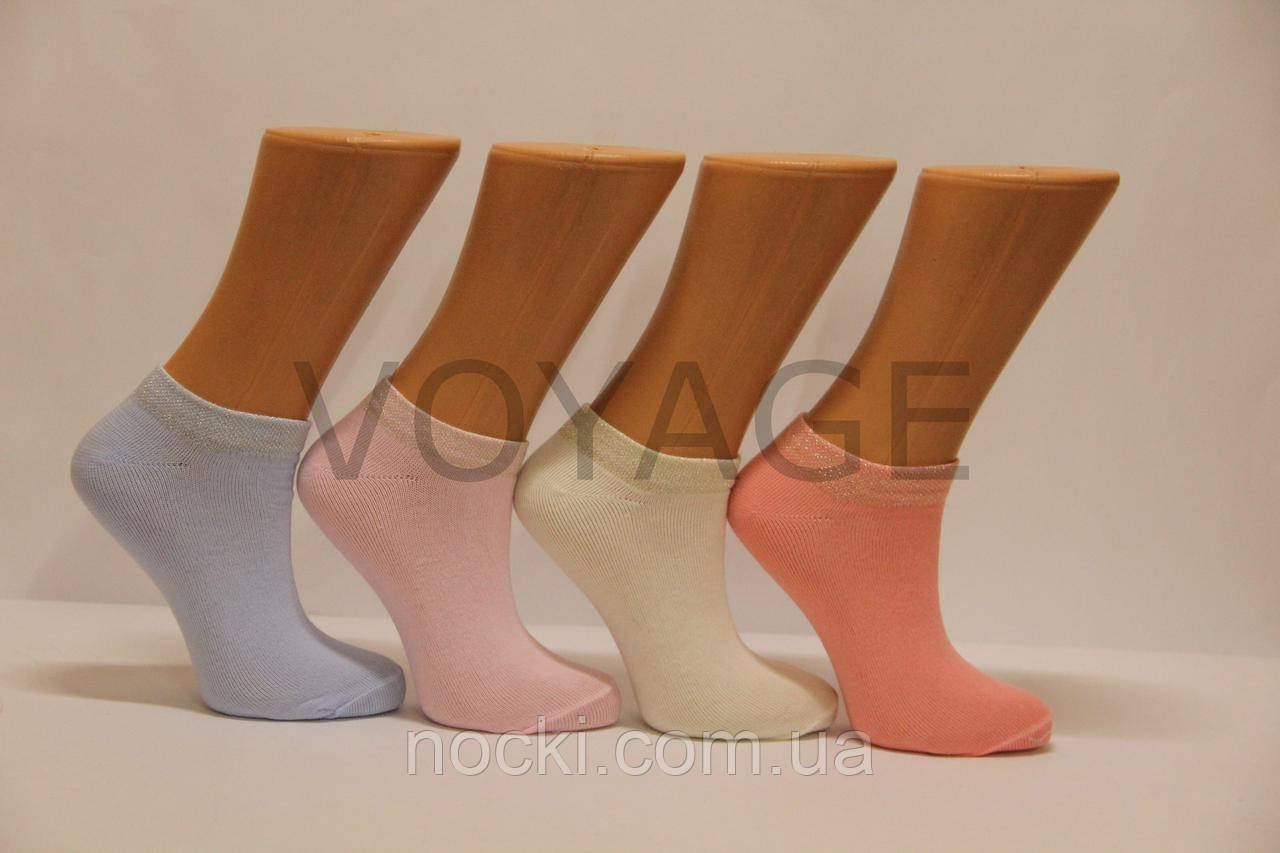 Женские носки короткие с хлопка классика SL КЛ 35-39 пастель ассорти резинка люрекс