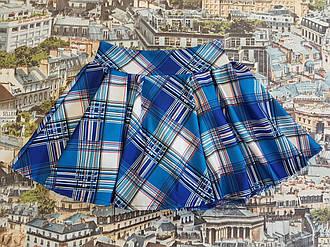 Летняя юбка на девочку клетка 128, 134, 140,146, 152, 158 см, бело-синий