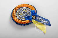 Синьо-жовта медаль початкової школи з номером класу
