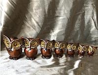Денежная сова фэн - шуй, символ мудрости и благополучия, высота 7 см, в наборе 4 шт