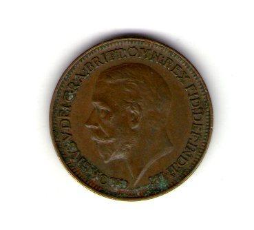 Великобритания фартинг 1927 год Георг V №274