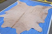 Экзотическая шкура, однотонная кремовая шкура коровы на пол, фото 1