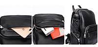 Женский кожаный рюкзак черный. Молодежный женский рюкзак на каждый день, фото 7