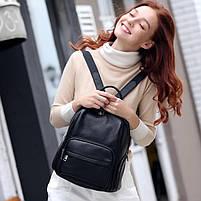 Женский кожаный рюкзак черный. Молодежный женский рюкзак на каждый день, фото 4