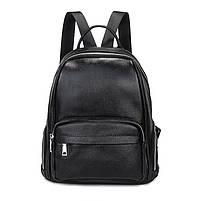 Женский кожаный рюкзак черный. Молодежный женский рюкзак на каждый день, фото 2