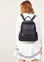 Женский кожаный рюкзак черный. Молодежный женский рюкзак на каждый день, фото 6