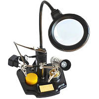 ZD-10 держатель третья рука c LED подсветкой, 3Х Ø90мм, подставка паяльника (с блоком питания от сети)