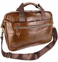 Кожаная офисная сумка-портфель для документов JZ 39х29х9см Коричневая