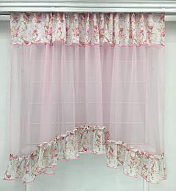 """Тюль- арка """"Рута"""" розовая, кухонные шторы"""