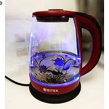Электро чайник ВIТЕК ВТ-3111 2400W 1,8L стекло с подсветкой Красный