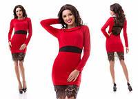 Стильное вечернее красное платье с черным кружевом внизу. Арт-3168/20.
