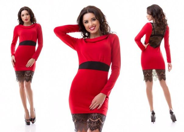 Красное платье с черными кружевами фото