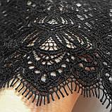 Ажурное французское кружево шантильи (с ресничками) черного цвета шириной 25 см, длина купона 1.5 м., фото 2