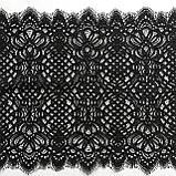 Ажурное французское кружево шантильи (с ресничками) черного цвета шириной 25 см, длина купона 1.5 м., фото 4