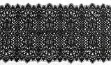 Ажурное французское кружево шантильи (с ресничками) черного цвета шириной 25 см, длина купона 1.5 м., фото 3