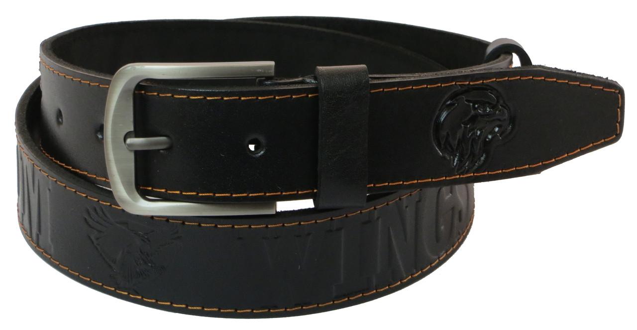 Чоловічий шкіряний ремінь під джинси Skipper 1013-38 чорний ДхШ: 125х3,8 див.