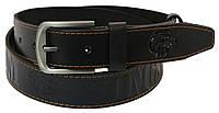 Чоловічий шкіряний ремінь під джинси Skipper 1013-38 чорний ДхШ: 125х3,8 див., фото 1