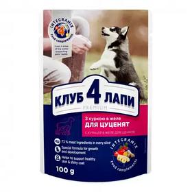 Клуб 4 лапы влажный корм с курицей в желе для щенков 0,1кг (Club 4 Paws Premium Puppies All Breeds)