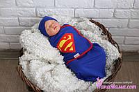 Пеленка кокон на липучках+ шапочка, Супермен, 3-6 мес, фото 1
