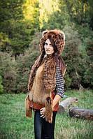 Жилет и шапка женская комплект из натурального меха лисицы
