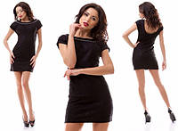 Облегающее черное короткое платье из ткани жаккард. Арт-3173/20.
