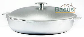 Сковорода (жаровня) алюминиевая 30см с рифленым дном, литыми ручками и крышкой Биол (А301)