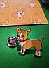 Брошь брошка металлическая собака щенок пес чихуа хуа рыжая, фото 5