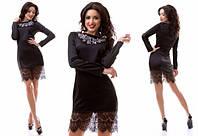 Черное атласное платье с вышивкой на груди и гипюровой вставкой внизу. Арт-3177/20.