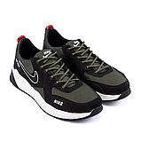 Чоловічі шкіряні кросівки nike чорно-оливкові з білою підошвою, фото 4