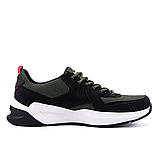 Чоловічі шкіряні кросівки nike чорно-оливкові з білою підошвою, фото 5