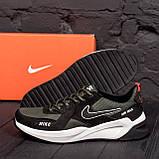 Чоловічі шкіряні кросівки nike чорно-оливкові з білою підошвою, фото 2