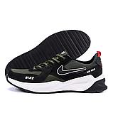 Чоловічі шкіряні кросівки nike чорно-оливкові з білою підошвою, фото 7