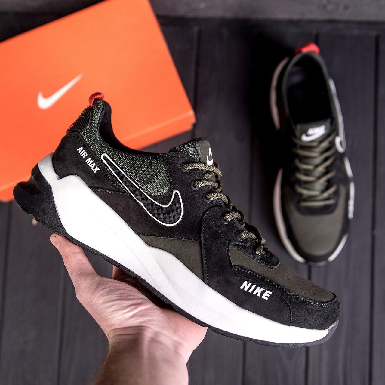 Чоловічі шкіряні кросівки nike чорно-оливкові з білою підошвою