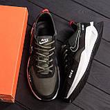 Чоловічі шкіряні кросівки nike чорно-оливкові з білою підошвою, фото 3