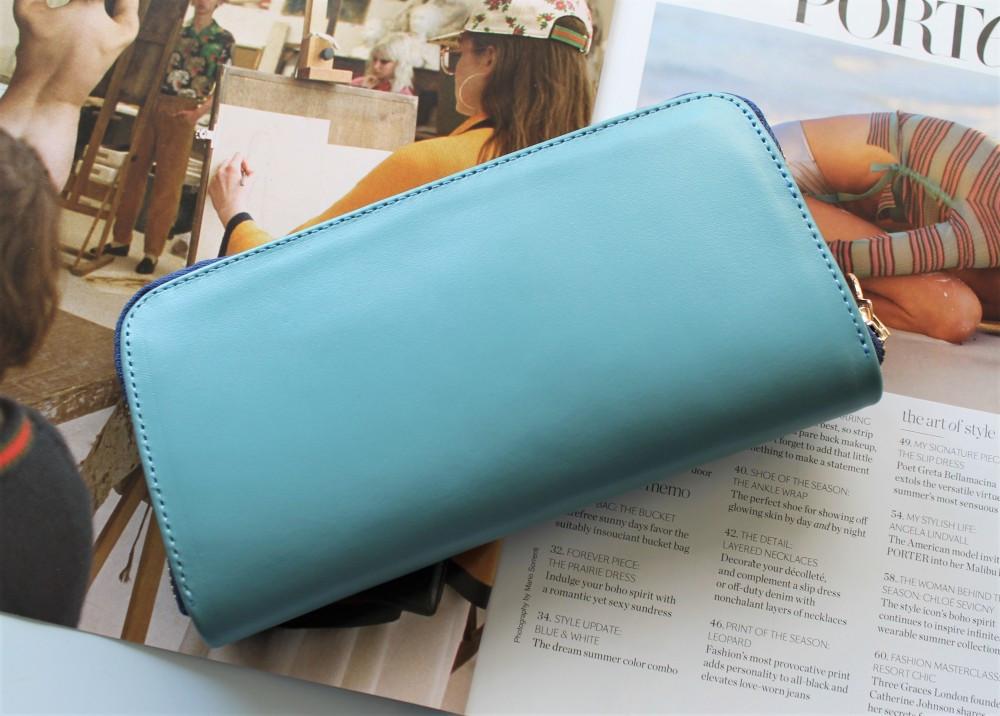 """Жіночий гаманець """"Eccellente"""" з натуральної шкіри блакитний"""