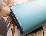 """Жіночий гаманець """"Eccellente"""" з натуральної шкіри блакитний, фото 2"""