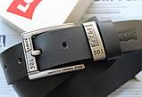 Шкіряний чоловічий ремінь Levis 501 чорний, фото 2