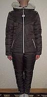 Зимний спортивный костюм на синтепоне коричневый