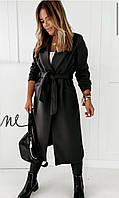 Пальто женское oversize с поясом черный