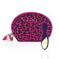 Мини вибромассажер Rianne S: Lovely Leopard Purple, 10 режимов работы, косметичка-чехол, мед.силикон