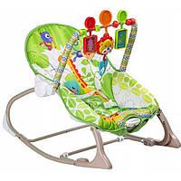 Дитячий Портативний Шезлонг-гойдалка для малят до 18кг м'яка дуга з іграшками, музика 50х55х60см - Fitch