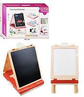 Двухсторонний Мольберт-Столик: меловая и магнитная сторона, 2 мини-игры, мелки и маркеры - розовый 29х39х50см