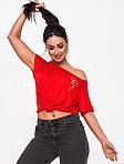 Жіноча футболка, турецька віскоза, р-р універсальний 50-54 (червоний), фото 3