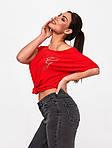 Жіноча футболка, турецька віскоза, р-р універсальний 50-54 (червоний), фото 4