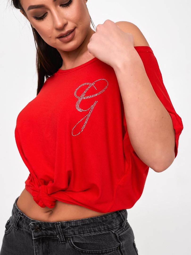 Жіноча футболка, турецька віскоза, р-р універсальний 50-54 (червоний)