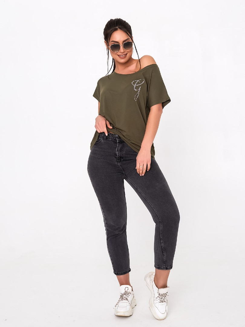 Жіноча футболка, турецька віскоза, р-р універсальний 50-54 (хакі)