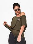 Жіноча футболка, турецька віскоза, р-р універсальний 50-54 (хакі), фото 2