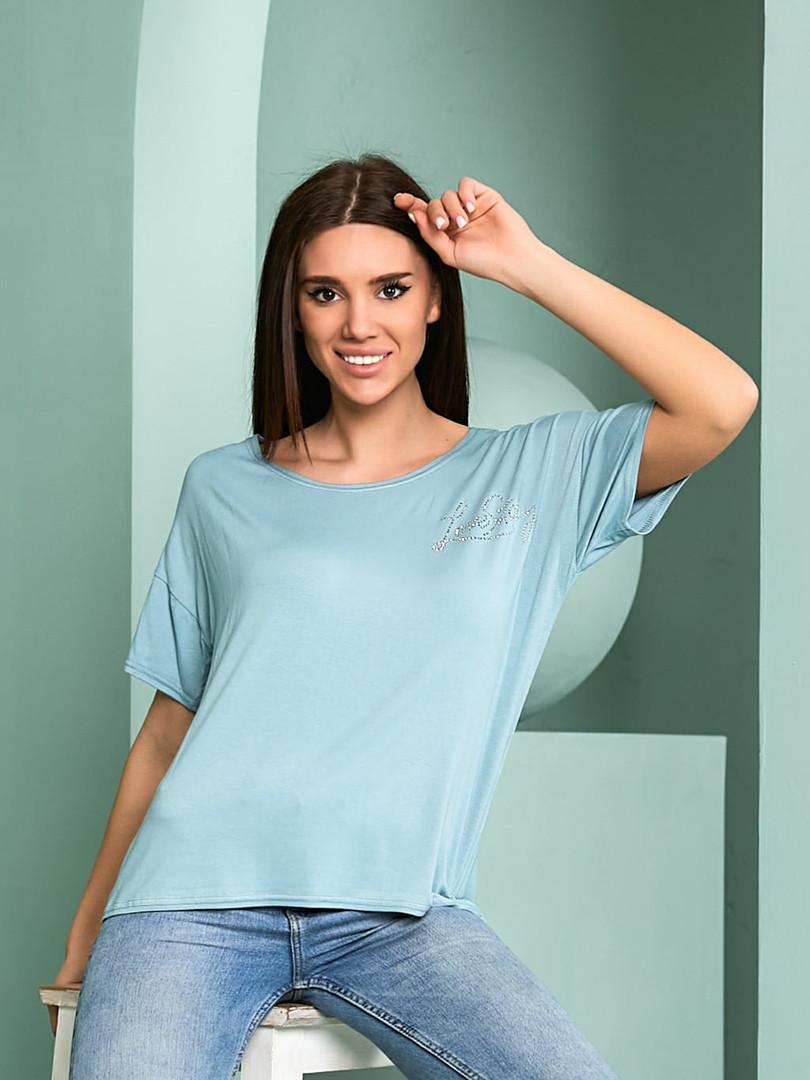 Жіноча футболка, турецька віскоза, р-р універсальний 44-48 (блакитний)