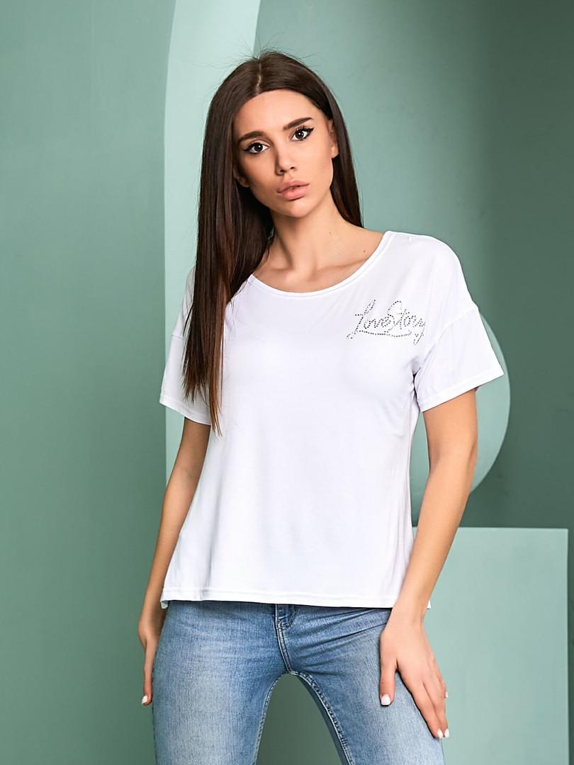 Женская футболка, турецкая вискоза, р-р универсальный 44-48 (белый)