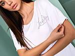 Жіноча футболка, турецька віскоза, р-р універсальний 44-48 (білий), фото 2